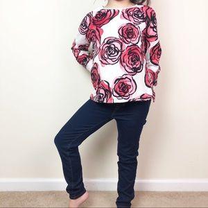 Girls' floral sweatshirt and skinny jeans set